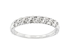 White Diamond 10k White Gold Twisted Band Ring 0.10ctw
