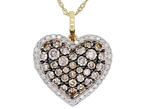 Champagne And White Diamond 10k Yellow Gold Cluster Heart Pendant With Chain 1.50ctw