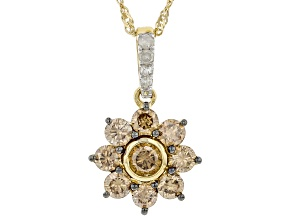 Champagne And White Diamond 10k Yellow Gold Pendant With Singapore Chain 0.75ctw