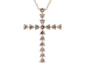 """Champagne Diamond 10k Rose Gold Cross Pendant With 18"""" Rope Chain 0.50ctw"""