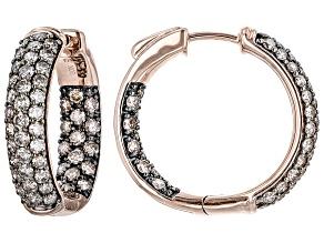 Champagne Diamond 10k Rose Gold Inside-Outside Hoop Earrings 2.00ctw