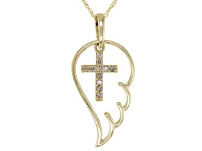 Candlelight Diamonds™ 10k Yellow Gold Cross And Angel Wing Pendant With Chain 0.15ctw