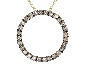 Champagne Diamond 10k Yellow Gold Circle Pendant With Chain 0.55ctw