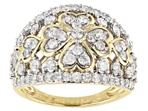 White Diamond 10k Yellow Gold Floral Wide Band Ring 1.50ctw