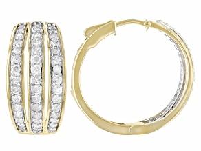 White Diamond 10k Yellow Gold Hoop Earrings 1.50ctw
