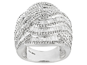 White Diamond Silver Ring 2.80ctw