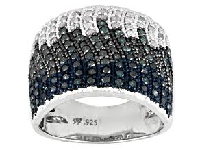 Blue, Aqua And White Diamond Rhodium Over Silver Ring 1.15ctw
