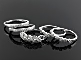 Diamond Sterling Silver Bands Set Of 5 .45ctw