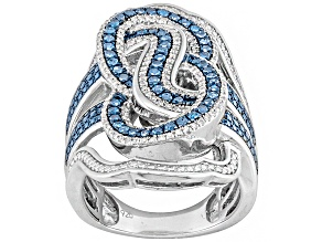 Blue And White Diamond Sterling Silver Ring .76ctw