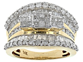 Diamond 14k Yellow Gold Quad Ring 2.02ctw
