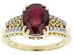 Red Mahaleo(R)  Ruby 10k Yellow Gold Ring 3.08ctw