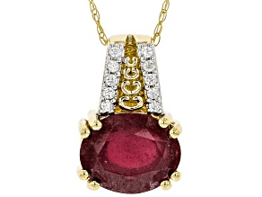 Red Mahaleo(R) Ruby 10k Yellow Gold Pendant With Chain 3.00ctw