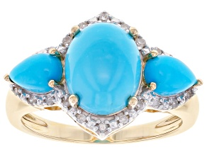 Blue Turquoise 10K Yellow Gold Ring 0.10ctw