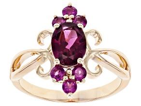 Purple Garnet 10K Yellow Gold Ring 1.74ctw