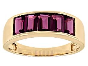 Purple Garnet 10K Yellow Gold Band Ring 1.70ctw