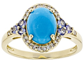 Sleeping Beauty Turquoise 10K Yellow Gold Ring 0.33ctw