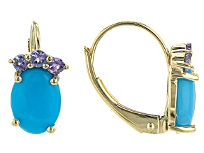 Sleeping Beauty Turquoise 10K Yellow Gold Dangle Earrings 0.20ctw