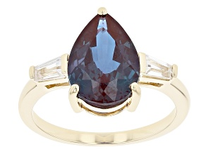 Blue Lab Created Alexandrite 10k Yellow Gold Ring 4.06ctw