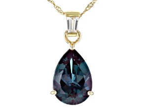 Blue Lab Created Alexandrite 10k Yellow Gold Pendant With Chain 3.85ctw
