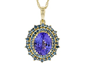 Blue Tanzanite 14k Yellow Gold Pendant With Chain 3.01ctw