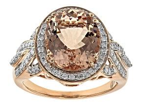 Pink Morganite 14K Rose Gold Ring 4.47ctw