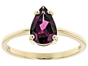 Grape Rhodolite 10K Yellow Gold Solitaire Ring 1.24ct