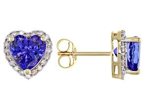 Blue Tanzanite 18k Yellow Gold Stud Earrings 2.35ctw