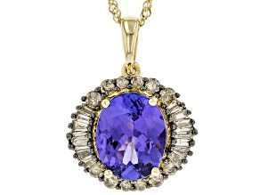 Blue Tanzanite 14K Yellow Gold Pendant With Chain 2.82ctw