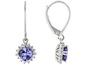 Blue Tanzanite Rhodium Over 10k White Gold Earrings 1.34ctw