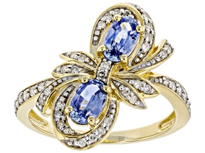 Blue Ceylon Sapphire 10K Yellow Gold Bow Ring 1.18ctw