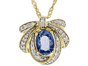 Oval Ceylon Sapphire 10k Yellow Gold Bow Pendant With Chain 0.98ctw
