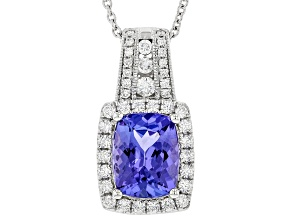 Cushion Tanzanite With Round Diamond Rhodium Over 14K White Gold Pendant With Chain 2.13ctw