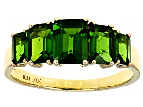 Rectangular Octagonal Chrome Diopside 10K Yellow Gold Ring 2.24ctw