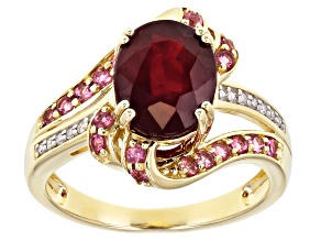 Red Mahaleo(R) Ruby 10K Yellow Gold Ring 3.48ctw
