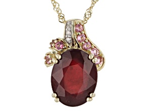 Red Mahaleo(R) Ruby 10K Yellow Gold Pendant With Chain 3.30ctw