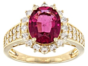 Red Rubellite 14K Yellow Gold Ring 2.85ctw