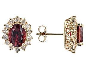 Pink Rubellite 14K Yellow Gold Stud Earrings 3.09ctw