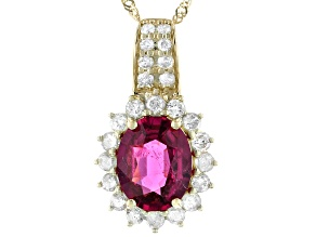 Red Rubellite 14K Yellow Gold Pendant With Chain 2.04ctw