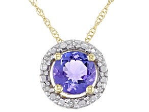 Blue Tanzanite 10K Yellow Gold Pendant With Chain .46ctw