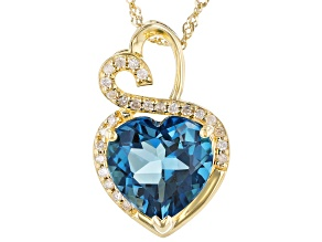 Blue Topaz 10K Yellow Gold Pendant With Chain 3.94ctw