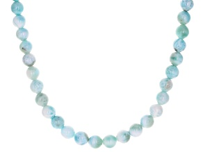 Blue larimar bead rhodium over sterling silver necklace