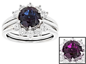 Blue Lab Alexandrite Rhodium Over Silver Ring and Enhancer Set 3.14ctw