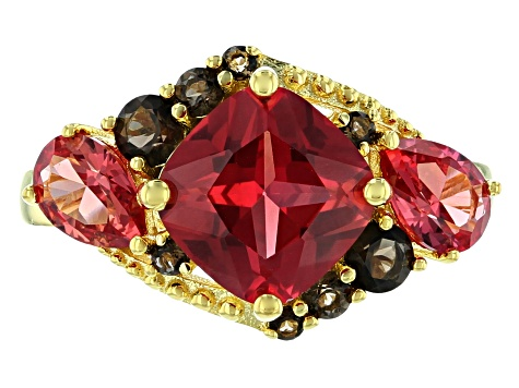 Orange Lab Created Padparadscha Sapphire 18k Gold Over Silver Ring 3.02ctw