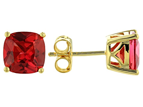 Orange Lab Created Padparadscha Sapphire 18k Gold Over Silver Earrings 4.29ctw