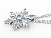 Sky blue topaz rhodium over silver snowflake pendant with chain 2.52ctw