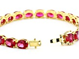 Red lab created ruby 18k yellow gold over silver bracelet 24.81ctw