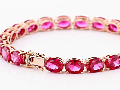 Red lab created ruby 18k rose gold over silver bracelet 24.81ctw