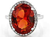 Orange Lab Created Padparascha Sapphire Rhodium Over Silver Ring 8.28ctw