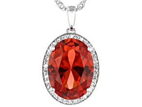 Orange Lab Created Padparadscha Sapphire Rhodium Over Silver Pendant With Chain 8.28ctw