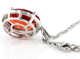 Orange Lab Created Padparascha Sapphire Rhodium Over Silver Pendant With Chain 8.28ctw